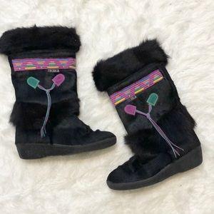 Tecnica fur winter boots black purple tassels